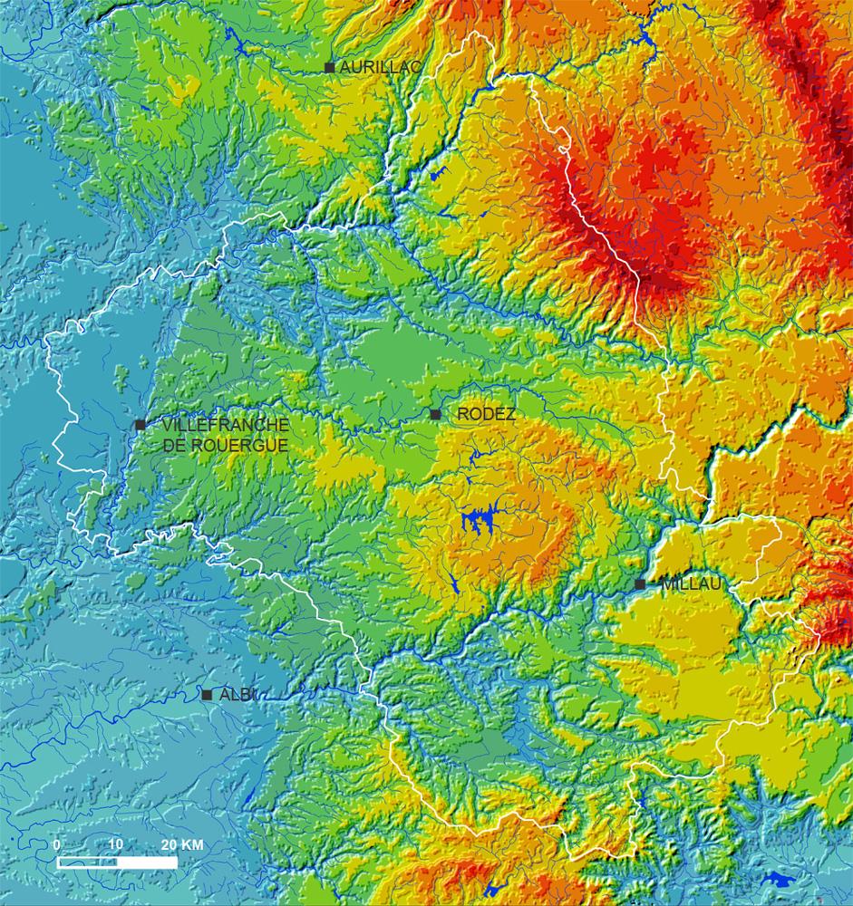 Carte du relief du département de l'Aveyron