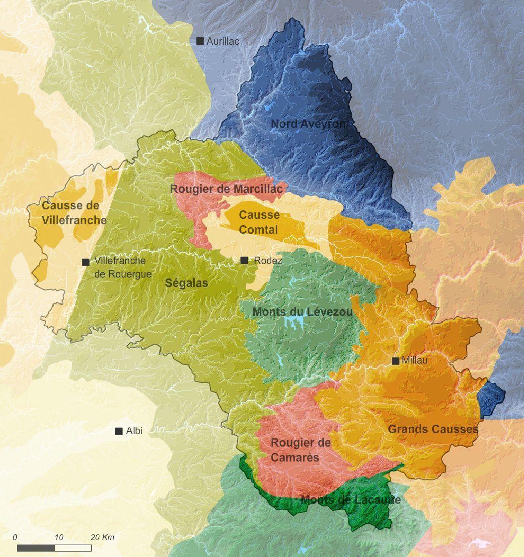 Carte des entités paysagères de l'Aveyron