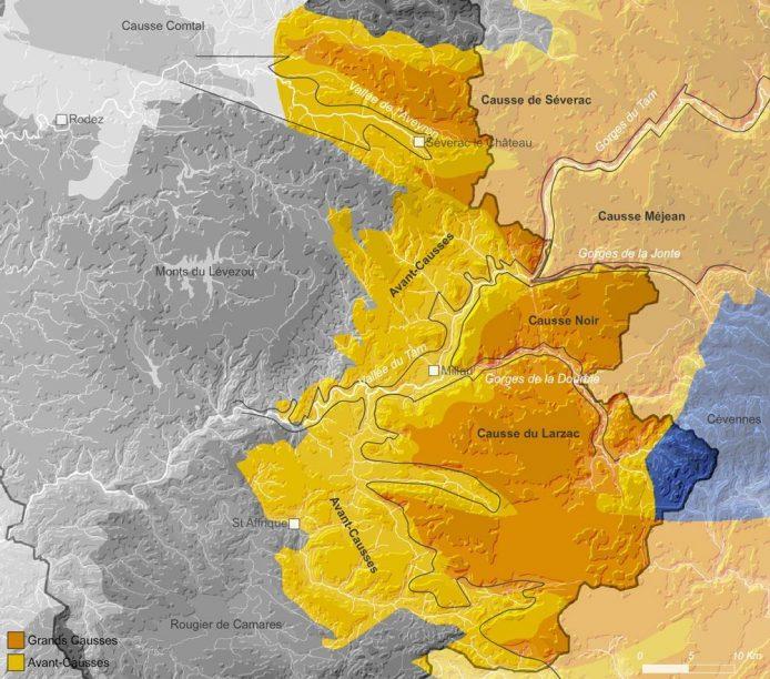 Carte des Grands Causses de l'Aveyron
