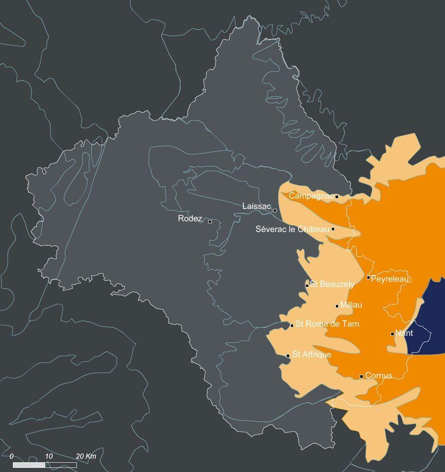 Carte de l'entité paysagère Grands Causse dans le département de l'Aveyron