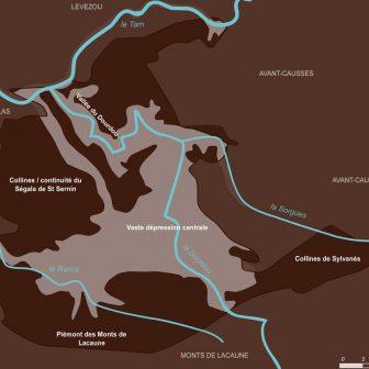 Hydrographie et paysages du Rougier de Camarès