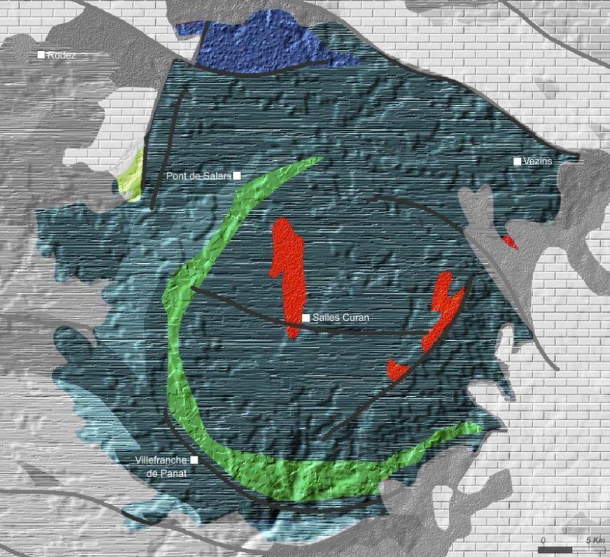 Carte de géologie des monts du Lévézou