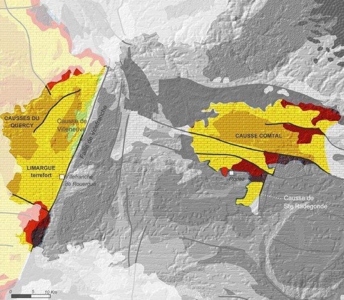 Carte de géologie des petits causses aveyronnais