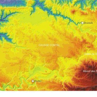 Carte du relief du Causse Comtal