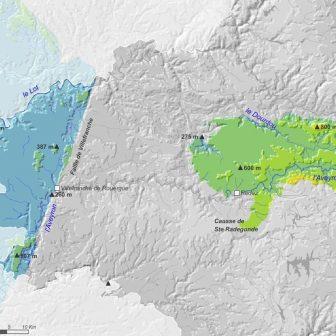 Carte Hydrographie des petits causses Aveyronnais