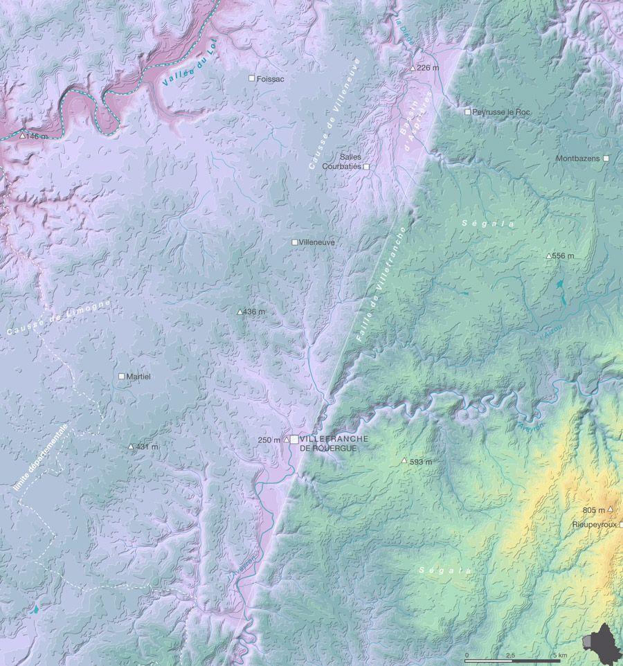 Faille de Villefranche carte du relief