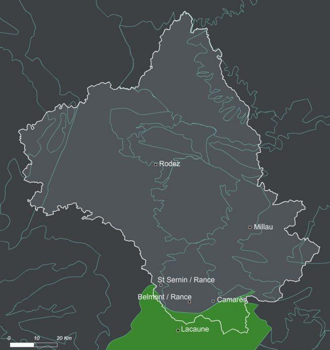 Localisation des monts de lacaune dans le département de l'Aveyron