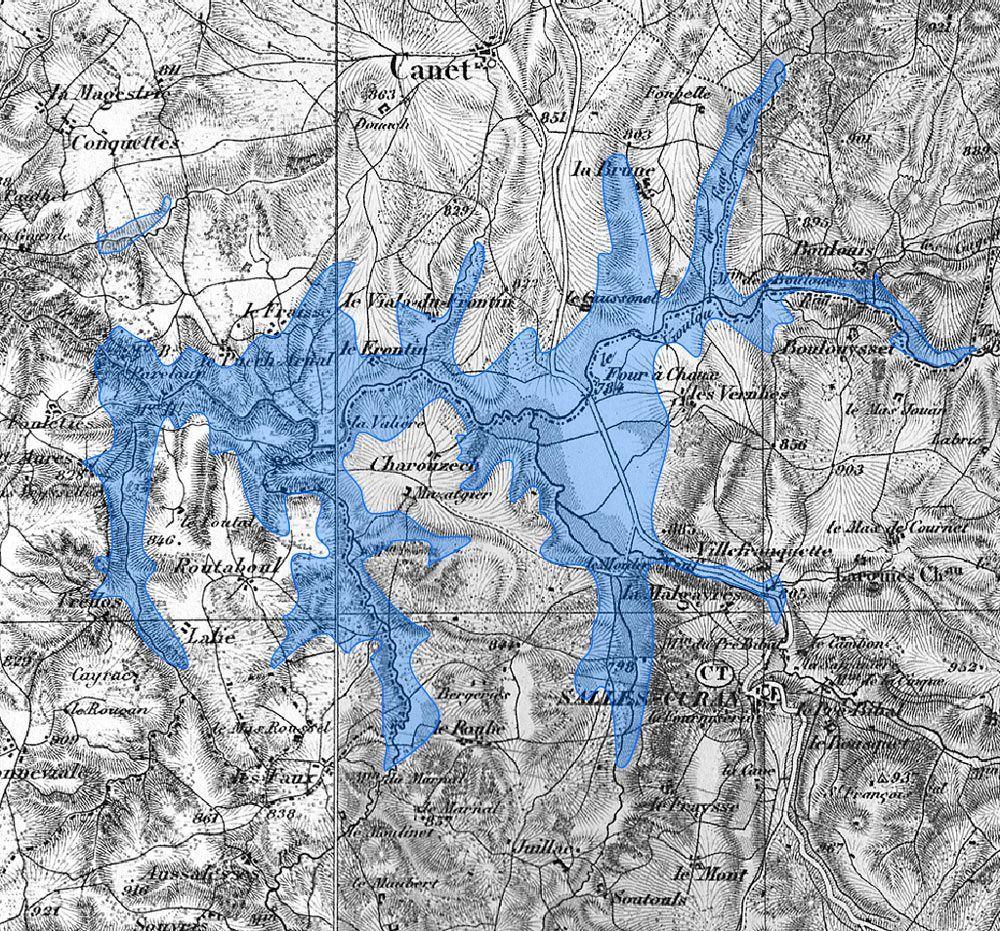 lac de pareloup carte carte emprise lac pareloup   Paysages de l'Aveyron