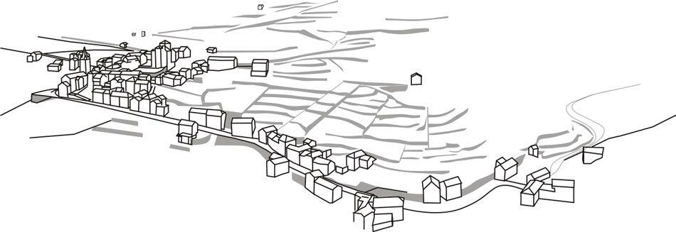 A proximité du village, les terrasses (en petites parcelles) étaient destinées aux cultures vivrières. Bâti et parcelles cultivées s'adaptent à la pente.